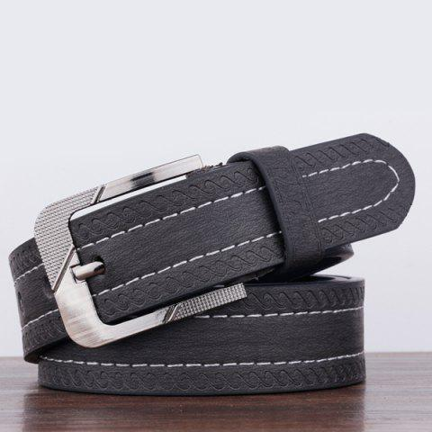 Pin Buckle Spindrift Pattern PU Wide Belt - BLACK