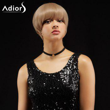 Adiors Short Straight Hairstyle Capless Full Bang Synthetic Wig