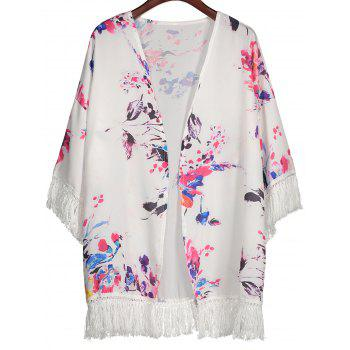 Floral Print Open Front Kimono with Tassel