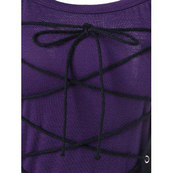 Spaghetti Strap Lace Up Club Dress - PURPLE M
