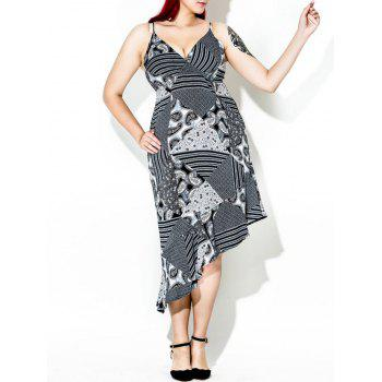 Asymmetric Print Plus Size Slip Dress