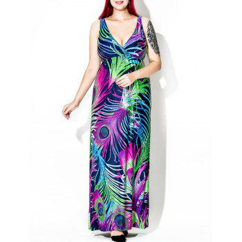 Feather Print Plus Size Floor Length Dress