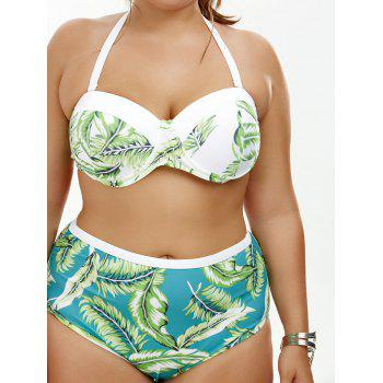 Plus Size Palm Leaf Print Halter Bikini - GREEN 5XL