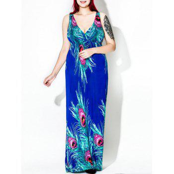 Floor Length Feather Print Plus Size Dress - BLUE 4XL