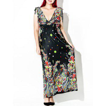 Floor Length Plus Size Print Dress - MULTI 4XL