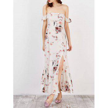Off The Shoulder Split Floral Long Dress