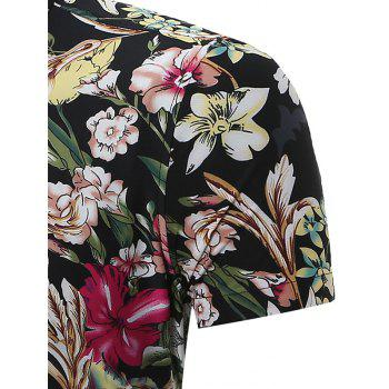 Floral Patterned Short Sleeves Shirt - BLACK BLACK