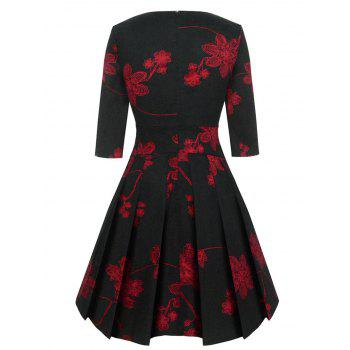 Floral Print Vinatge Fit and Flare Dress - BLACK BLACK