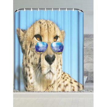 Wear Glasses Cheetah Waterproof Bath Curtain
