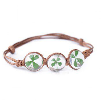 Adjustable Glass Ball Clover Flower Rope Bracelet