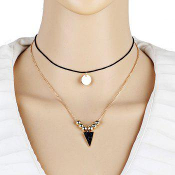 Beads Triangle Sequin Pendant Layered Necklace