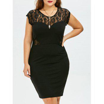 Plus Size Lace Insert Knee Length Tight Dress