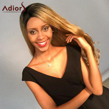 Adior Long Wavy Side Bang Colormix Lace Front Synthetic Wig