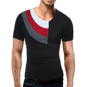 Color Block Panel Short Sleeve Novelty T-Shirts - BLACK XL