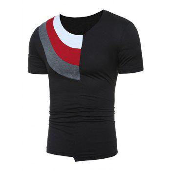 Color Block Panel Short Sleeve Novelty T-Shirts - 2XL 2XL