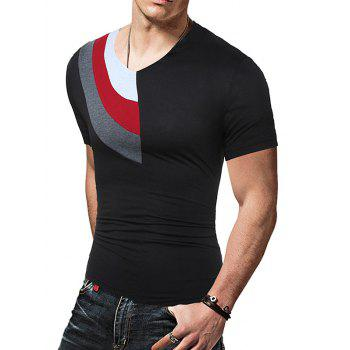 Color Block Panel Short Sleeve Novelty T-Shirts - L L