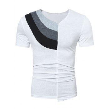 Color Block Panel Short Sleeve Novelty T-Shirts - WHITE L