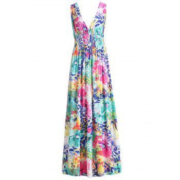 Sexy Colorful Floral Print Plunging Neck Sleeveless Dress
