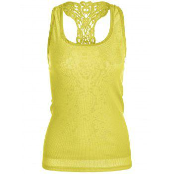 Lace Panel Racerback Tank Top