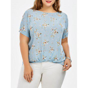 Plus Size Floral Print Beading Embellished Chiffon Top