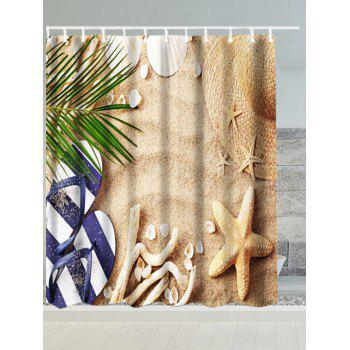 Beach Starfish Slippers Water Resistant Fabric Shower Curtain