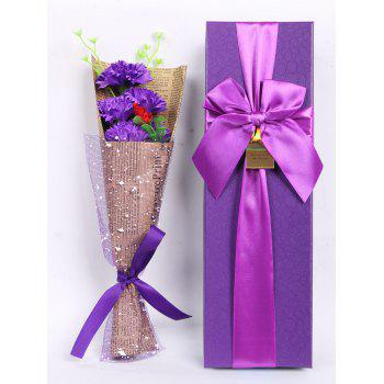 Creative Mother's Day Gift Soap Carnation 5PCS Artificial Flowers - PURPLE PURPLE