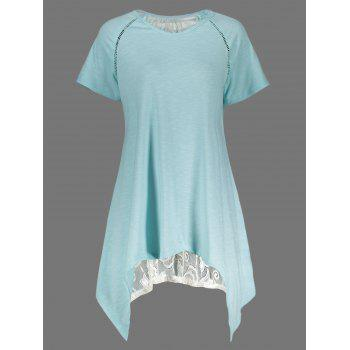 Sheer Lace Panel Long Asymmetric Tee