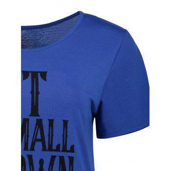 Casual Short Sleeve Graphic Tee - BLUE BLUE