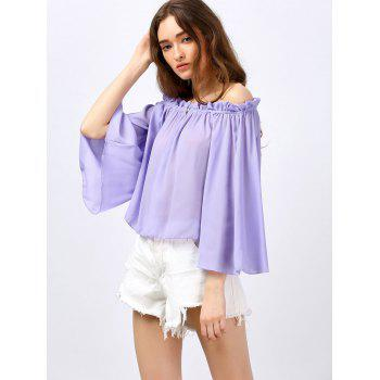 Ruffle Off The Shoulder Blouse - LIGHT PURPLE LIGHT PURPLE