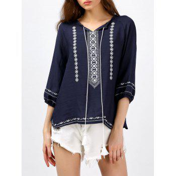 Self Tie Tassel Embroidered Blouse