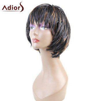 Adiors Short Full Bang Hightlight Bob Braid Synthetic Wig With Plastic Netting Cap