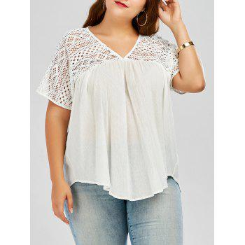 Plus Size Hollow Out Pleated Smock Blouse