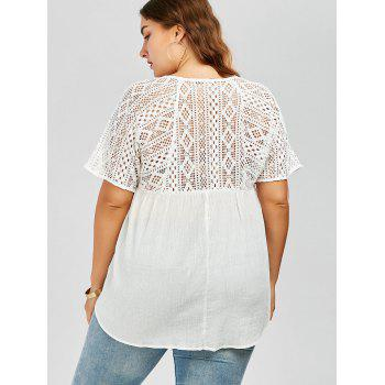 Plus Size Hollow Out Pleated Smock Blouse - WHITE WHITE