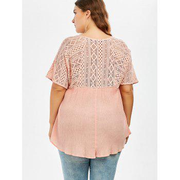 Plus Size Hollow Out Pleated Smock Blouse - PINK PINK