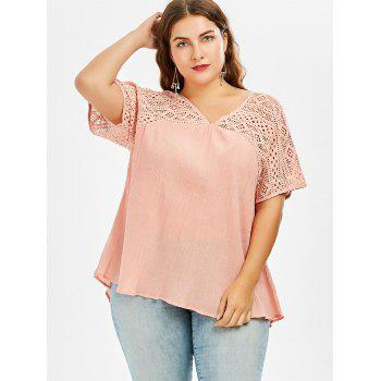 Plus Size Hollow Out Pleated Smock Blouse - PINK 4XL