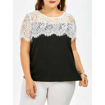 Lace Trim Short Sleeve Plus Size Top