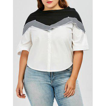 Plus Size Colorblock Stripe Flare Sleeve Top