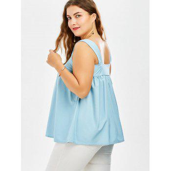Square Neck Plus Size Dressy Tank Top - MEDIUM BLUE 3XL