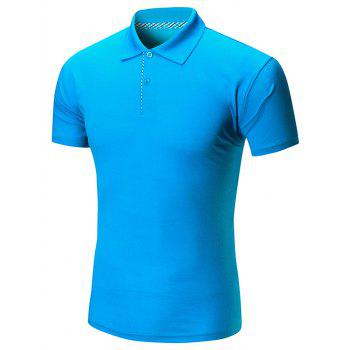 Short Sleeve Buttoned Plain Polo Shirt - BLUE BLUE