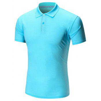 Short Sleeve Buttoned Plain Polo Shirt - LAKE BLUE LAKE BLUE