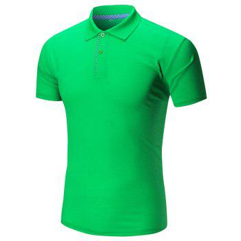 Short Sleeve Buttoned Plain Polo Shirt - GREEN GREEN