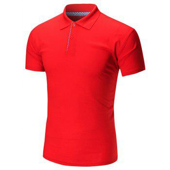 Short Sleeve Buttoned Plain Polo Shirt - RED RED