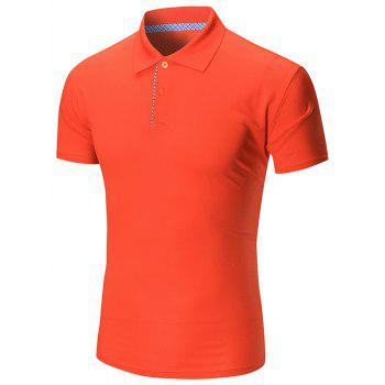 Short Sleeve Buttoned Plain Polo Shirt - JACINTH JACINTH