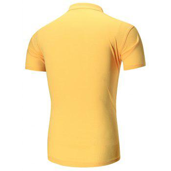 Short Sleeve Buttoned Plain Polo Shirt - YELLOW YELLOW