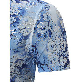 All Over Floral Print Short Sleeves Shirt - BLUE 2XL