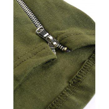 Hooded Side Zipper Longline T-Shirt - KHAKI M