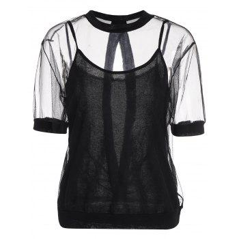 Backless Plus Size Sheer Top With Camisole
