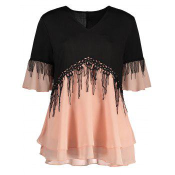 Color Block Plus Size Fringe Top