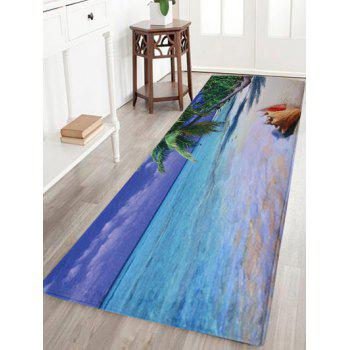 Beach Print Coral Fleece Absorbent Area Rug