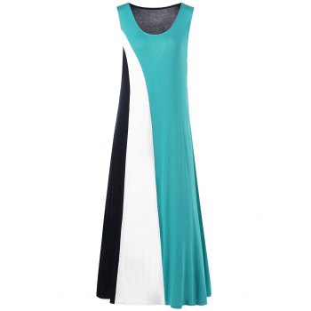 Plus Size Color Block Maxi Tank Dress